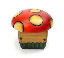 Mushroom Wood Trinket Box Decorative Hinged Jewelry Box Stash Container Handmade