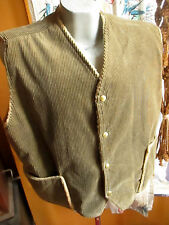 NEW 2XL XXL True Vtg 70s OLIVE GREEN FLEECE LINED Vest CORDUROY DENVER COLORADO