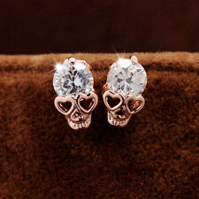 Excellent Stud Earrings Women Diamond Gold Plated Skull Stud Earrings AU、