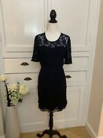 Whistles Navy Blue And Black Lace Dress (Size 12)
