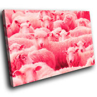 A693 Pink Abstract Sheep Farm Funky Animal Canvas Wall Art Large Picture Prints