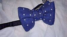 $250 NWT Tom Ford Bow Tie - COTTON/LINEN/SILK blue  Dot