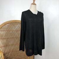 Calliope Road Long Sleeve Top Size M 12 NZ Design Black Linen Blend Slight Sheer