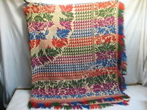 Vintage Colorful Coverlet Loom Woven Bed Spread Plum Blue Red Green Blanket