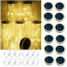 New listing 12-Pack Led Solar Powered Mason Jar Lids Fairy String Lights Garden Decor