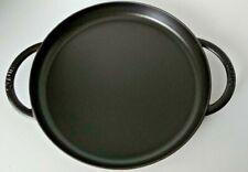 "Staub Cast Iron 12"" Round Double Handle Griddle Pan Turquoise Enamel Bottom"