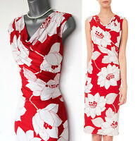 Phase Eight White/Red Rosalie Scarlet Silky Jersey Cowl Neck Pencil Dress 10 £99
