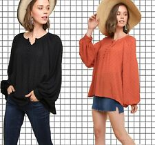 XL-PLUS 1XL  UMGEE RED CLAY or BLACK Dotted Button Down Blouse/Shirt/Top BHCS