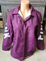 Victoria's Secret PINK Sherpa Lined Coaches Jacket Black Orchid Burg Small HTF