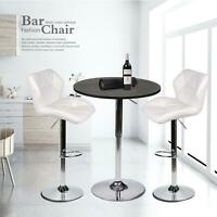 3 PCS Bar Stools Table Set Counter Adjustable Swivel Hydraulic Pub Dining Chairs