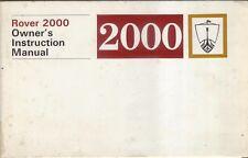 Rover P6 2000 original Owners Instruction Manual (Handbook) 1970 Part No. 605940