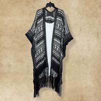 Plus Boho Hippie Gypsy Peasant Black White Cardigan Duster Wrap  Kimono One Size