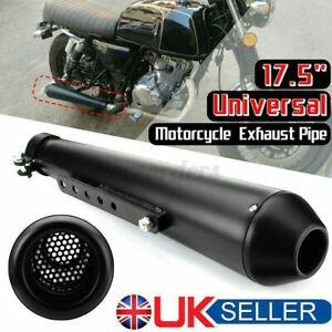 Universal Custom Megaphone Motorcycle Exhaust Pipe Cafe Racer - Black