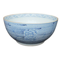 "Blue and White Porcelain Chain Lotus Flower Large Bowl 16"" Diameter"