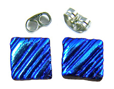 "DICHROIC Earrings BLUE Turquoise Teal Ripple Striped Textured Post 1/4"" 8mm STUD"