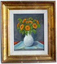 BOUQUET DE FLEURS EN BLANC vase ,nature morte, impressionniste, 2. moitié 20. JH