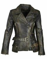 Women's Vintage Cafe Racer Motorcycle Distressed Brando Real Leather Jacket