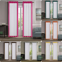 "2PC SOLID COLOR-BLOCK BORDER FAUX SILK SEMI SHEER WINDOW CURTAIN PANEL 84""L AMY"