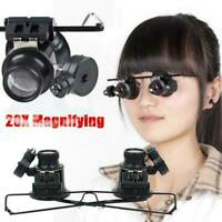 20x Magnifying Eye Magnifier Glasses Loupe Lens Jeweler Watch Repair LED Lights!
