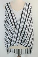 French Connection sleeveless black & white striped crossover blouse - as new  12