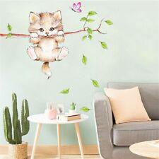 Wandtattoo Aufkleber Katze Schmetterling Baum Kinderzimmer