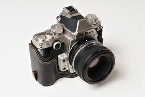 Handmade Black Leather Half Case Bag for Nikon DF Camera