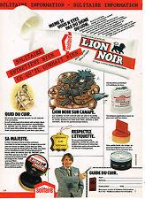 PUBLICITE ADVERTISING 025  1980  LION NOIR  cirage pour canapé cuir