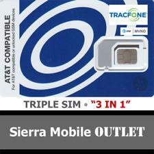 """TRACFONE SIM CARD """"3 in 1"""" MINI 2FF+ MICRO 3FF+ NANO 4FF • GSM 4GLTE AT&T MVNO"""