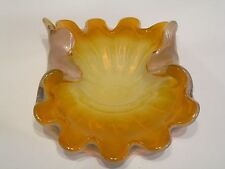 Vintage Stunning Murano Seguso Orange White Art Glass Crimped Dish Bowl