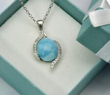 Larimar Natural 10X12mm Clear Topaz accent Necklace .925 Sterling Silver