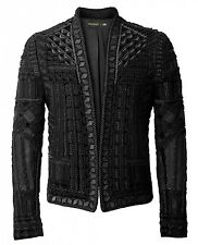 BNWT BALMAIN x H&M Black Embroidered Blazer Metal Velvet Jacket EUR 46 - 36R