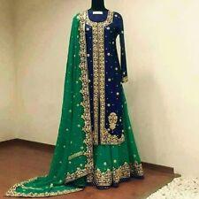 Heavy blue green Indian pakistani Designer Party wear lehenga long kameez dress