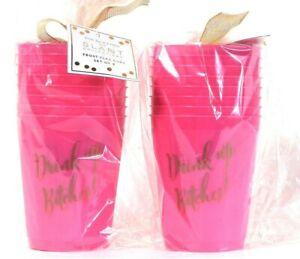 16 Count Slant Collections 16 Oz Drink Up B Pink & Gold Frost Flex Cups