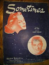 SHEET MUSIC SOMETIMES 1941