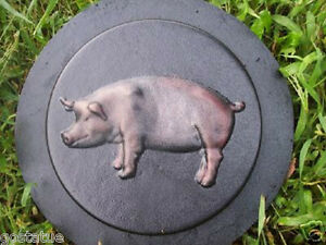 """Pig stepping stone mold  plaster concrete resin mould 9"""" x 1.5"""" thick"""