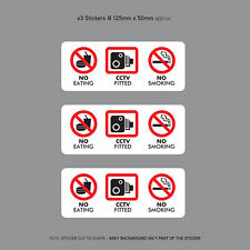 3 x No Eating Drinking CCTV Fitted Taxi Stickers Minicab Cab Notice - SKU3143
