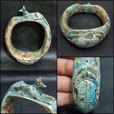 Rare Anubis Scarab Faience Bracelet Egyptian Antique Beetle Amulet Figurine Bead