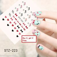 Nail Art Water Transfers Stickers Decals Hello Kitty Hearts Bows Gel Polish 223