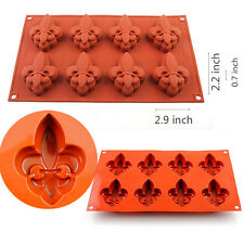 8-Cavity Fleur De Lis Chocolate Candy Silicone Mold Muffin Jelly Ice Tray Baking