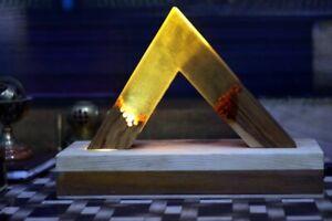 Handmade Epoxy Resin Lamp Unique Triangle Shape wooden Box Best Beautiful Gift