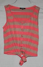 MAXIM Women's pink and dark beige stripped sleeveless top with front tie SIZE M