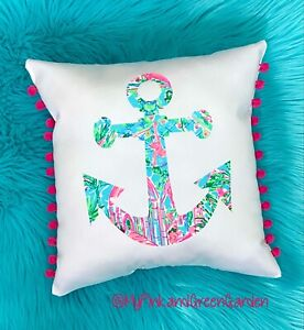 NEW Anchor pillow made with LILLY PULITZER Bali Blue Spotted On Worth fabric