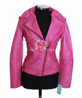 Isabel Pink Ladies Women's New Biker Style Fashion Real Lambskin Leather Jacket
