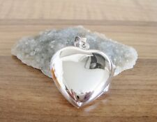 925 Sterling Silver - Large Silver Heart Shaped Locket Pendant - 30mm Height