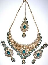Indian Bollywood Turquoise Gold Crystal Jewellery set Necklace, Earring, Tikka
