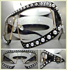 OVERSIZED RETRO Style Clear Lens EYE GLASSES Black & Gold Pearl Frame HANDMADE!