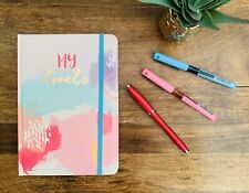 'My Goals' Hardback A5 Notebook, Pink Modern Design, Rose Gold Edges