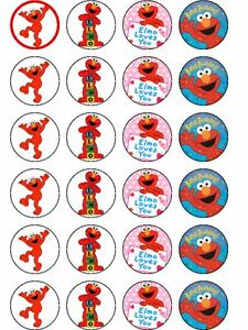 24 X PRE CUT ELMO PARTY BIRTHDAY WAFER PAPER CUPCAKE TOPPERS