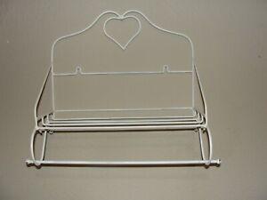Vintage Large White Metal Wire Wall Hanging Heart Shelf w/ Paper Towel Bar - EUC