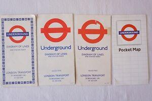 1969 1977 1978 1984 London Underground Pocket Tube Map x4